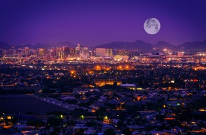 phoenix skyline at night with full moon